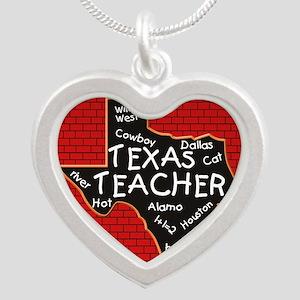 Texas Teacher Silver Heart Necklace