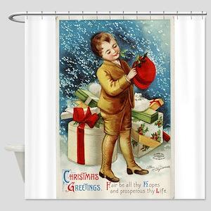 Vintage 1900s Christmas Greetings Shower Curtain