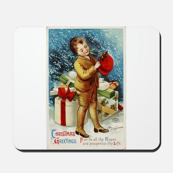 Vintage 1900s Christmas Greetings Mousepad
