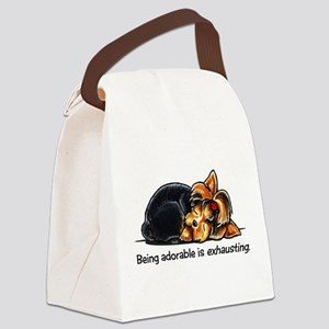 Yorkie Being Adorable Canvas Lunch Bag