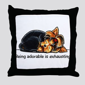 Yorkie Being Adorable Throw Pillow