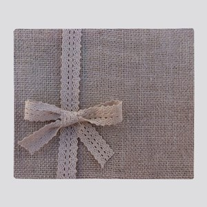 Vintage Country Burlap Lace Bow Throw Blanket