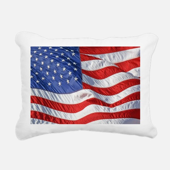 Waving Wind American Fla Rectangular Canvas Pillow