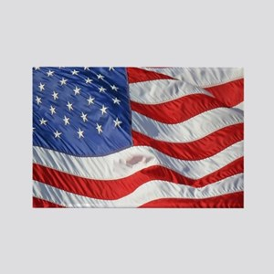 Waving Wind American Flag Rectangle Magnet