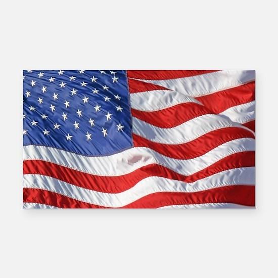 Waving Wind American Flag Rectangle Car Magnet