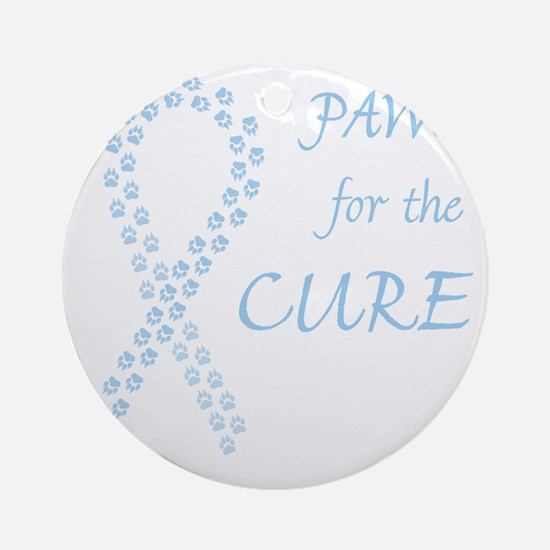paw4cure_ltblue Round Ornament