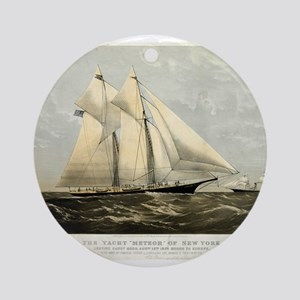 The yacht Meteor - 1869 Round Ornament
