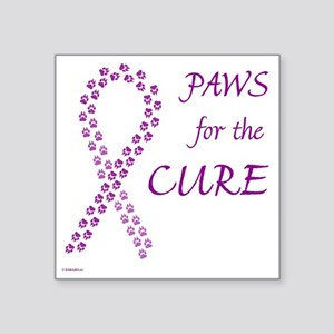"paw4cure_purple Square Sticker 3"" x 3"""