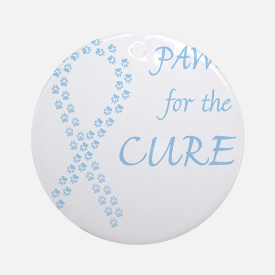 trp_paw4cure_ltblue Round Ornament