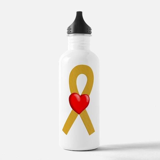 Gold Heart Ribbon Water Bottle