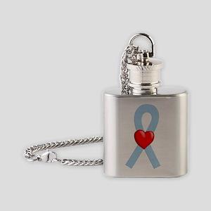 Light Blue Heart Ribbon Flask Necklace