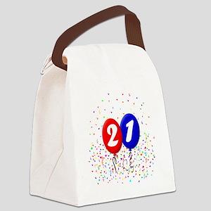 21bdayballoonbtn Canvas Lunch Bag