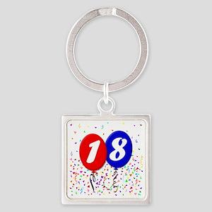 18bdayballoon Square Keychain