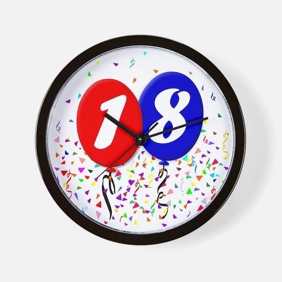 18bdayballoon Wall Clock