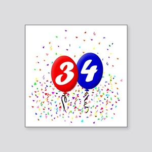 "34bdayballoonbtn Square Sticker 3"" x 3"""