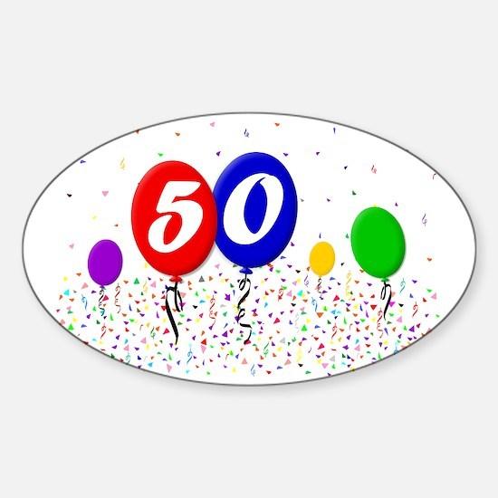 50bdayballoon2x3 Sticker (Oval)