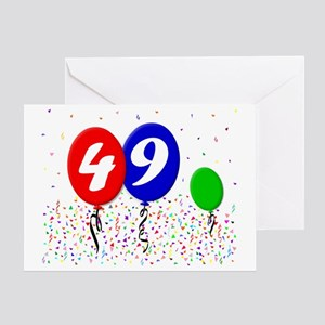 49bdayballoon3x4 Greeting Card