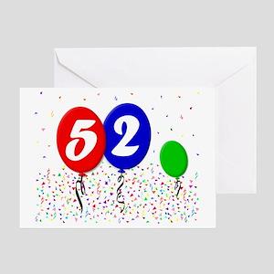 52bdayballoon3x4 Greeting Card