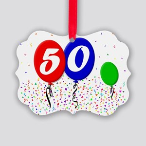 50bdayballoon3x4 Picture Ornament