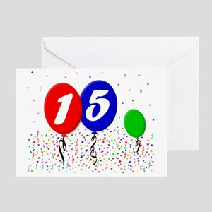 15bdayballoon3x4 Greeting Card