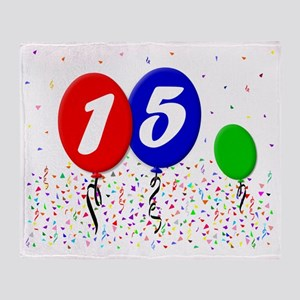 15bdayballoon3x4 Throw Blanket