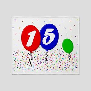 15bdayballoon3x4 Throw Blanket