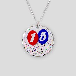 15bdayballoon Necklace Circle Charm