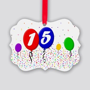 15bdayballoon2x3 Picture Ornament