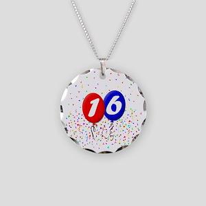 16bdayballoonbtn Necklace Circle Charm