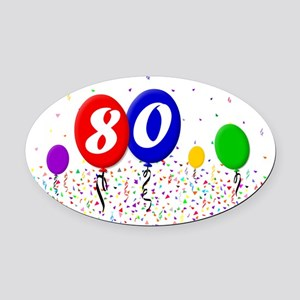 80bdayballoon2x3 Oval Car Magnet
