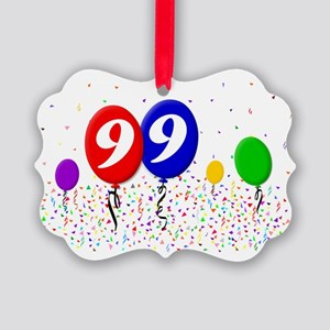 99bdayballoon2x3 Picture Ornament