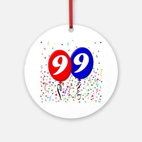 99bdayballoon Round Ornament
