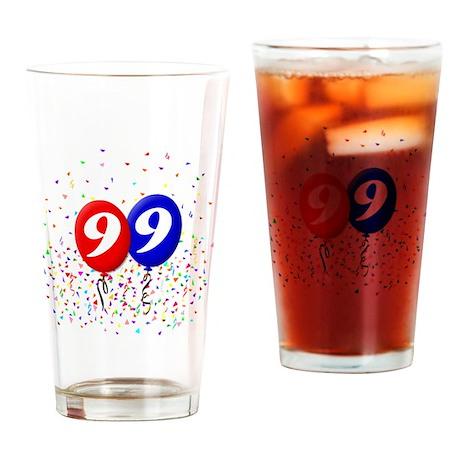 99bdayballoonbtn Drinking Glass