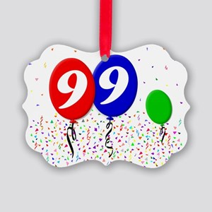 99bdayballoon3x4 Picture Ornament
