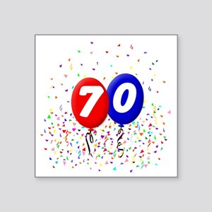 "70_bdayballoonbtn Square Sticker 3"" x 3"""