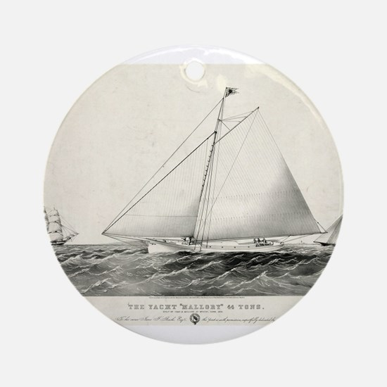 The yacht Mallory - 1861 Round Ornament