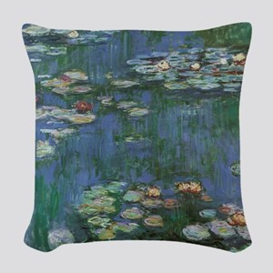 Waterlilies by Claude Monet Woven Throw Pillow