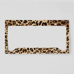 Leopard Gold Black Print License Plate Holder