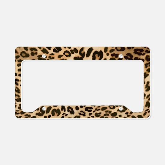 Leopard Gold/Black Print License Plate Holder