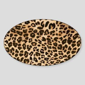 Leopard Gold/Black Print Sticker (Oval)