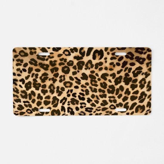 Leopard Gold/Black Print Aluminum License Plate
