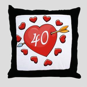 40th Valentine Heart Throw Pillow