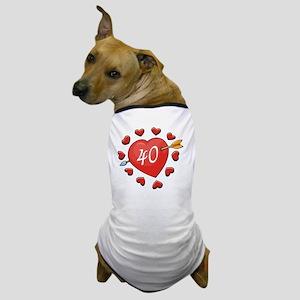 40th Valentine Heart Dog T-Shirt