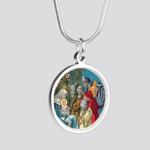 Wise Men Visit Silver Round Necklace