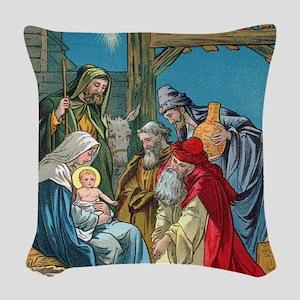 Wise Men Visit Woven Throw Pillow