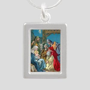 Wise Men Visit Silver Portrait Necklace