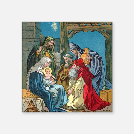 "Wise Men Visit Square Sticker 3"" x 3"""