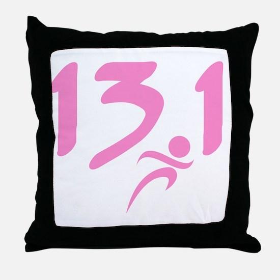 Pink 13.1 half-marathon Throw Pillow