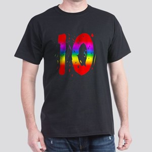 Confetti Rainbow 10 Dark T-Shirt