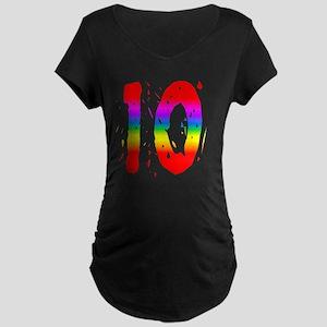 Confetti Rainbow 10 Maternity Dark T-Shirt